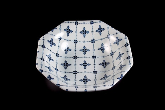 Vegetable Bowl, J & G Meakin, Homespun, Ironstone, Blue Floral and Squares, Octagon, Serving Bowl