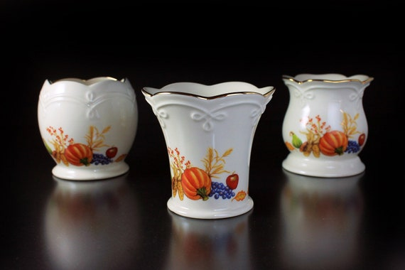 Lenox, Votive Candle Holders, Fall Harvest  Fall Design, Set of 3, Tea Candles Included