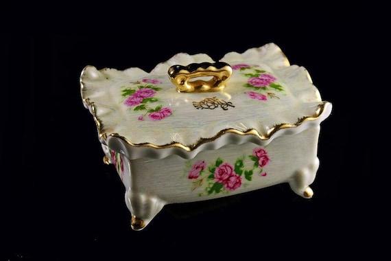 Trinket Box Vanity Jar  Diamond Fine China Korea Iridescent