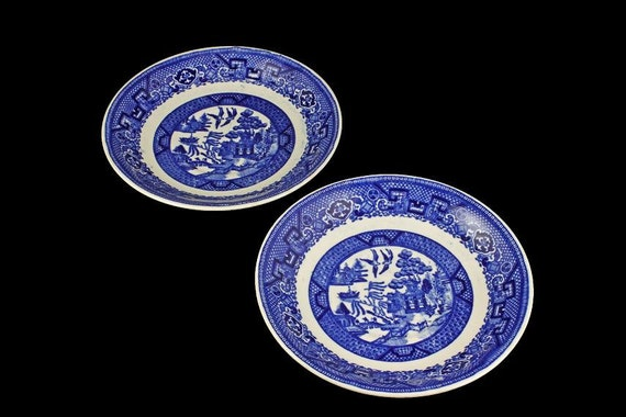 Saucers, Homer Laughlin, Blue Willow, Set of 2, Transferware, Made in USA, Blue and White