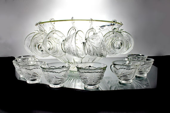 Punch Bowl with 24 Cups, Indiana Glass, Pebble Leaf Clear, 6 Quart,  Plastic Ladle, Large, Pressed Glass, Discontinued, Wedding, Party