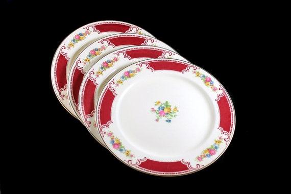 Dinner Plates, Homer Laughlin, Majestic, Brittany Shape, Set of 4, Multicolor Floral, Burgundy Band