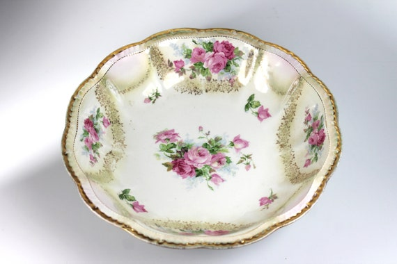 Empire China Vegetable Bowl, Fruit Bowl, Pink Rose, Gold Trim, Serving Bowl, Embossed, Centerpiece, Decorative