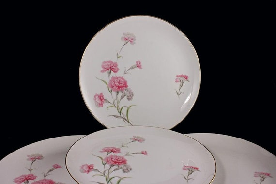 Dinner Plates Royal Court China Carnation Pattern Set of 4