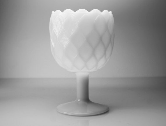 Large Milk Glass Goblet, Diamond Pattern, Small Compote, Planter