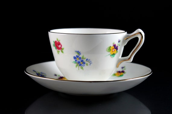 Cup and Saucer, Crown Staffordshire, Rose Pansy, Bone China, 22 Kt. Gold Trim