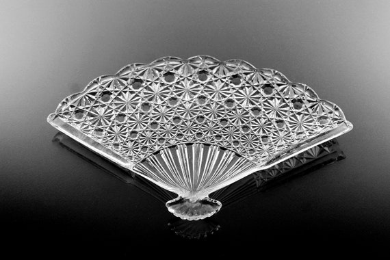 Fan Tray, Wright Glass, Daisy and Button Pattern, Pressed Glass, Serving Tray, Candy Dish, Trinket Dish, Vanity Dish