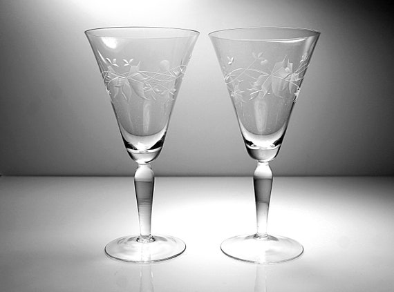 Wheel Cut Champagne Glasses, Leaf Design, Large, Set of Two, Barware