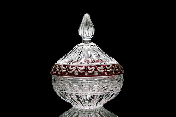 Crystal d'Adriana Candy Dish, Ruby Flash, 24K Leaded Crystal, Swag Pattern, Clear Glass, Giftware