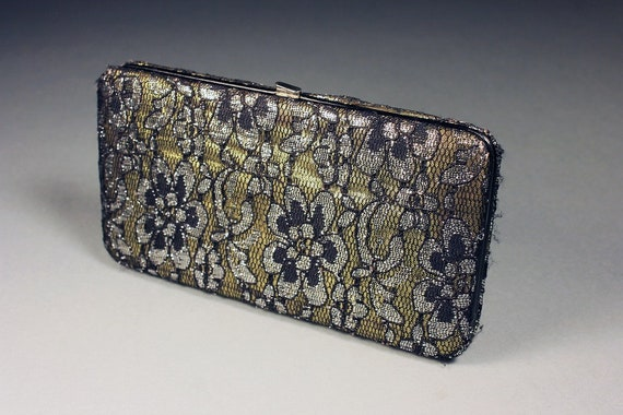 Ladies Clutch Wallet, Black Lace over Gold Satin, Snap Closure