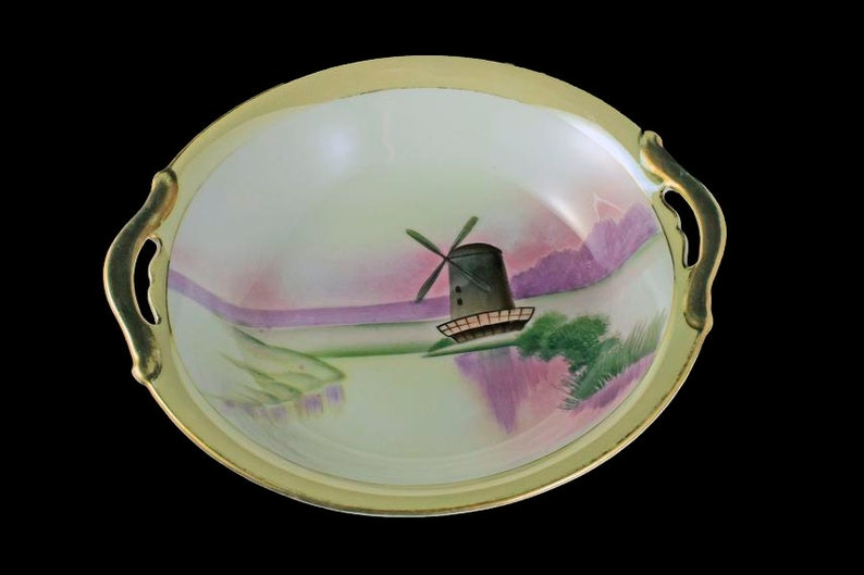 Handpainted Handled Bowl Windmill Pattern Art Deco Bowl Gold Trimmed Meito China