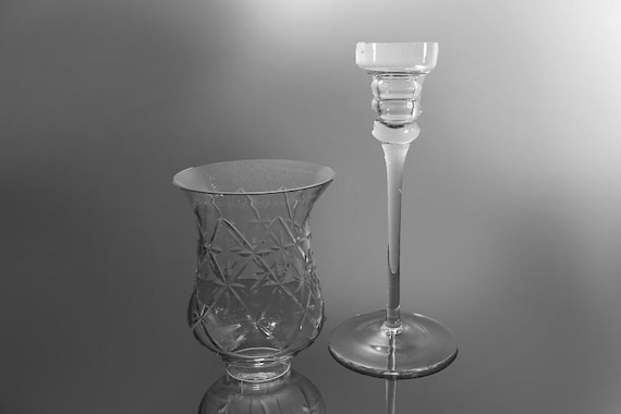 Hurricane Candle Holder, Two Piece, Clear Glass