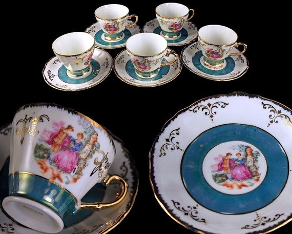 Demitasse Cups and Saucers, Portrait, Lusterware, Set of 5, Porcelain, Gold Trim, Made In Japan,