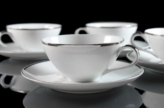 Cups and Saucers, Harmony House, Moderne, Platinum Trim, Set of 4, Fine China, White