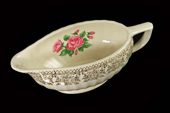 Gravy Boat, Sebring Pottery, China Bouquet, Pink Roses, Gold Filigree Trim