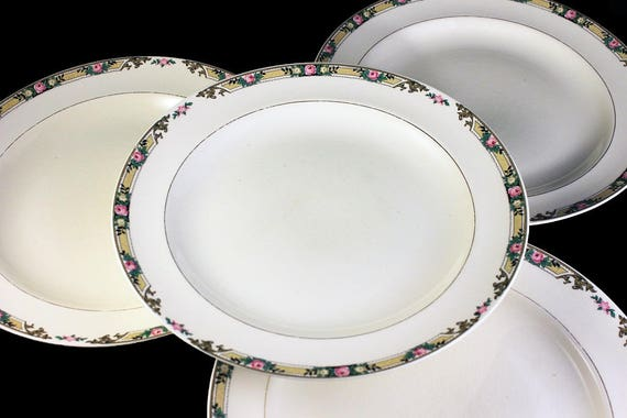 Dinner Plates, Mount Clements, Set of 4, Floral Band, Pink Rose, Fine China