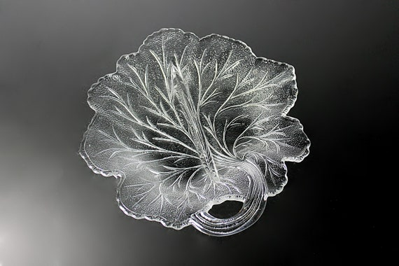 Two-Part Relish Bowl, Indiana Glass, Pebble Leaf, Candy Dish, Serving Bowl, Clear Glass, Leaf Shaped