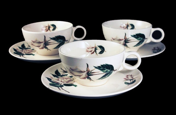 Cups and Saucers, Universal Pottery, Ballerina, White Rose Pattern, Made in USA, Porcelain, Set of 3