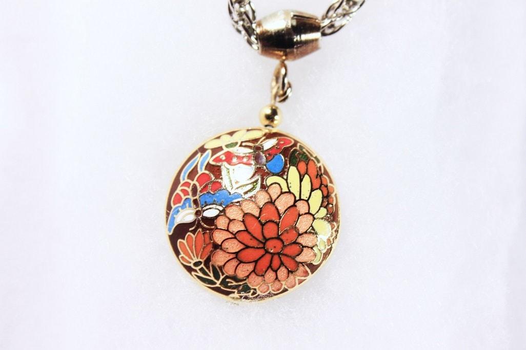 Cloisonne Pendant Necklace Double Sided Pendant Butterflies