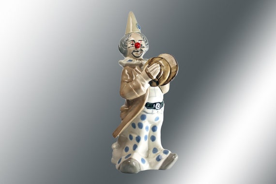Theatrical Clown Figurine, Espada Navaro, Statue, 3 Headed Clown, Blue and White, Spanish Porcelain, Collectible