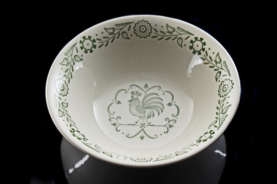 Vegetable Bowl, Scio Pottery, Provincial, Green Roster, Discontinued, Serving Bowl