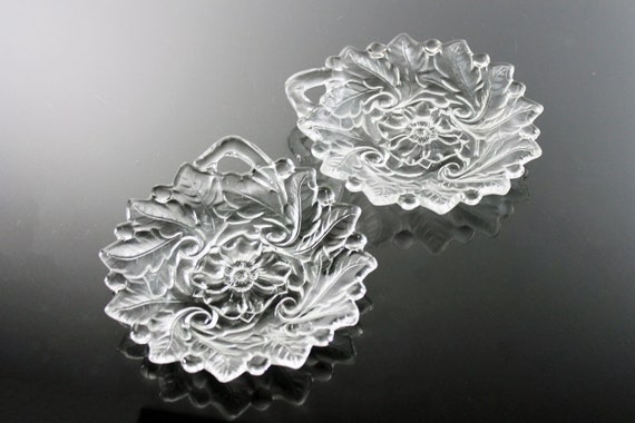 Indiana Glass Nappy, Wild Rose Pattern, Set of 2, Textured Floral Design, Clear Glass, Serving Bowl, Pressed Glass, Discontinued
