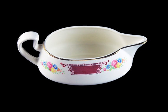 Gravy Boat, Homer Laughlin, Majestic, Brittany Shape, Multicolor Floral, Burgundy Band