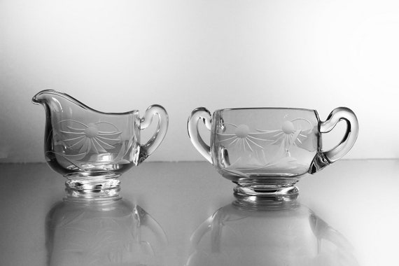 Antique Sugar Bowl and Creamer, EAPG,  Wheel Cut, Floral Design, Pressed Glass