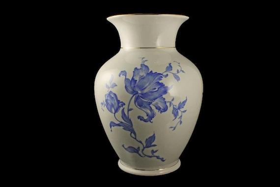 Table Vase, Germany, 24K Gold Trim, Blue and White, Floral, Large, Centerpiece, Flower Vase