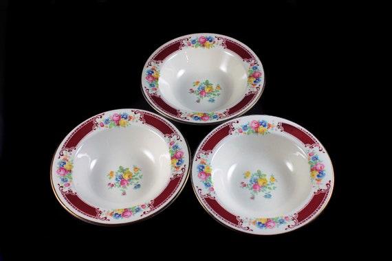 Fruit Bowls, Homer Laughlin, Majestic, Brittany Shape, Set of 3, Multicolor Floral, Burgundy Band