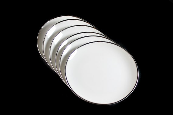 Bread and Butter Plates, Harmony House, Moderne, Platinum Trim, Set of 6, Fine China, White, Bun Plate, Roll Plate