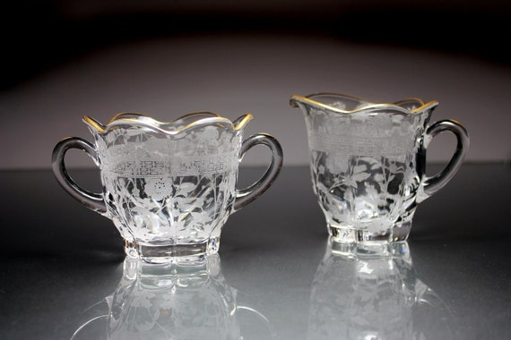 Sugar and Creamer, Duncan and Miller, Etched Glass, Pressed Glass, Floral Design, Clear Glass, Gold Trim
