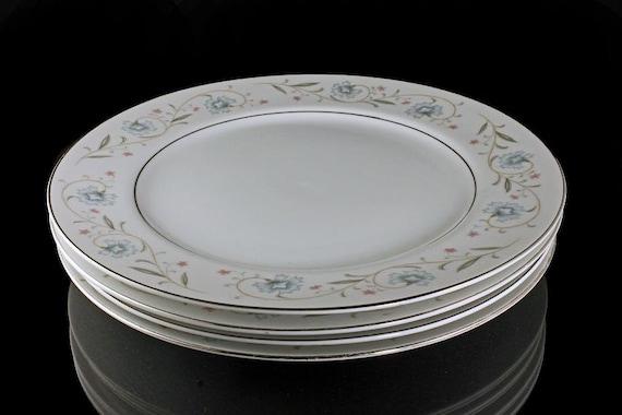 English Garden Platinum, Dinner Plates, Fine China, Japan, Set of 4