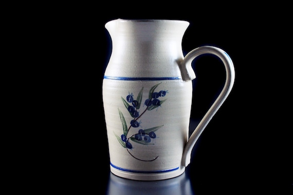 Stoneware Pitcher, Olde Cape Cod, Blueberry Pattern, One Quart, Tan and Blue, Hand Painted
