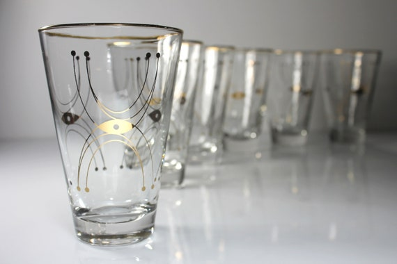 Libbey Adagio Tumblers, Gold Geometric Design, Set of 6, Clear Glass, Drinking Glasses, 12 Ounce, Discontinued