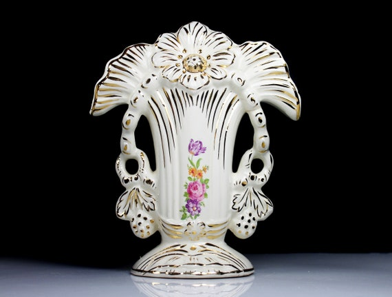 Porcelain Footed Table Vase, Paul's Gifts USA, Gold Trim, Victorian Style Centerpiece, Flower Vase, Pink Floral, Planter
