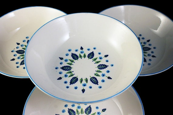 Marcrest, Soup Bowls, Swiss Alpine, Blue and White, Leaves and Flowers, Made in USA, Porcelain, Set of 4
