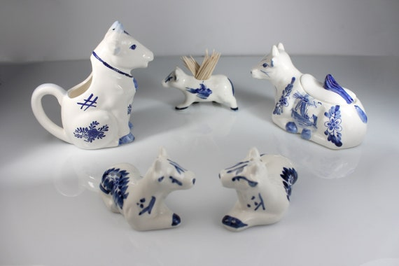 Collectible Cow Table Set, JSNY, Blue and White China, Windmill Design, Porcelain