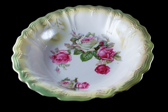 Vegetable Bowl, Germany, Pink Roses, Green Trimmed,  9 Inch, Serving Bowl, Embossed, Centerpiece, Decorative