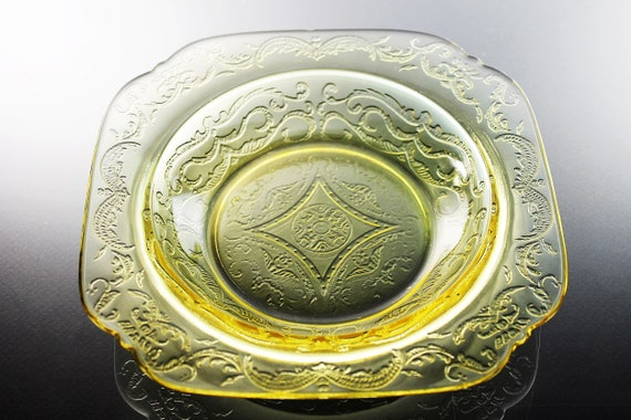 Federal Glass Soup Bowl, Madrid Pattern, Square Soup Bowl, Yellow Depression Glass, Collectible