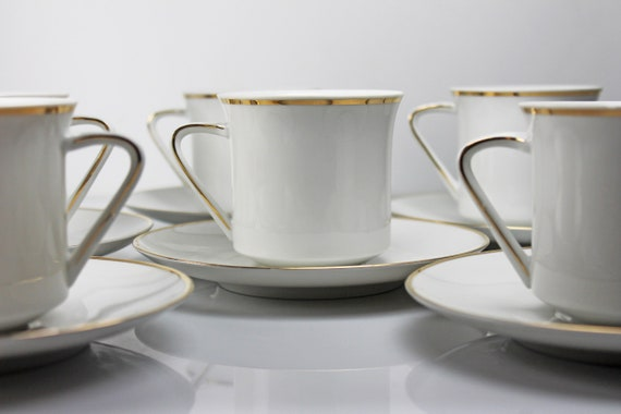 Cups and Saucers, Johann Haviland, Golden Band, Set of 6, Fine China, Gold and White