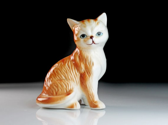 Cat Figurine, Striped Orange, Cat Statue, Animal Art, Animal Statue, Collectible, Cat Lovers Gift