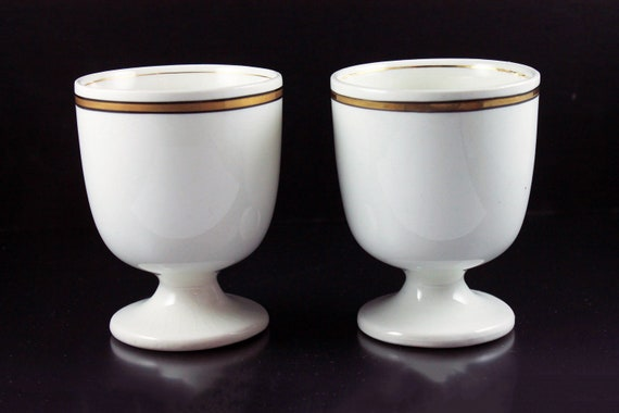 Antique Egg Cups, Grindley England,  White with Gold Band, Set of 2, Breakfast Dishware, Collectible