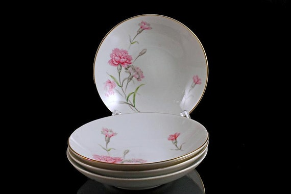 Bowls Fruit / Dessert Royal Court China Carnation Pattern Set of 4