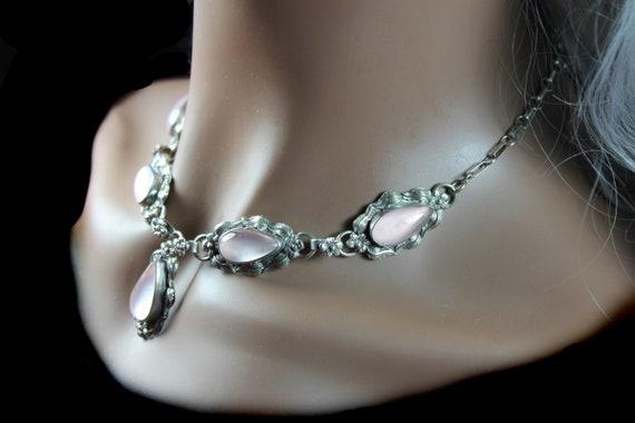 Rose Quartz Necklace, Sterling Silver,  Carol Felley Designer, Native American Design, Floral Rose Pattern