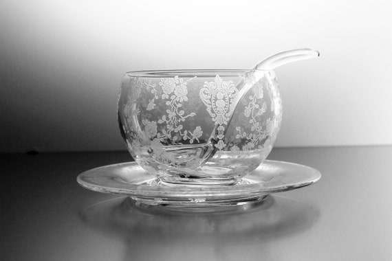 Cambridge Rose Point Mayonnaise Bowl, Ladle and Underplate, Etched Glass, Depression Glass, Clear Glass, Serving Bowl