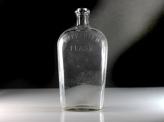 Antique Bottle, Warranted Flask, Whiskey Flask, Clear Glass, Cork Closure, Collectible