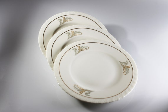 Bread and Butter Plates, Hanover Fine China, Enchantment, Lily of the Valley, Set of 3, Bread Plates