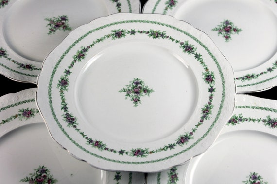 Antique Luncheon Plates, T & R Boote, Waterloo Potteries, Flemish Garland, Set of 5, Floral Circle, Collectible