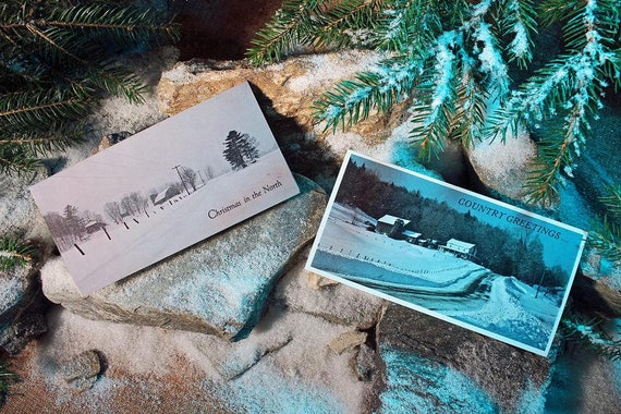 Vintage Christmas Cards, Assorted Cards, Set of 12, Envelopes Included, Adirondack Scenery, Landscape, Winter, Holiday Cards